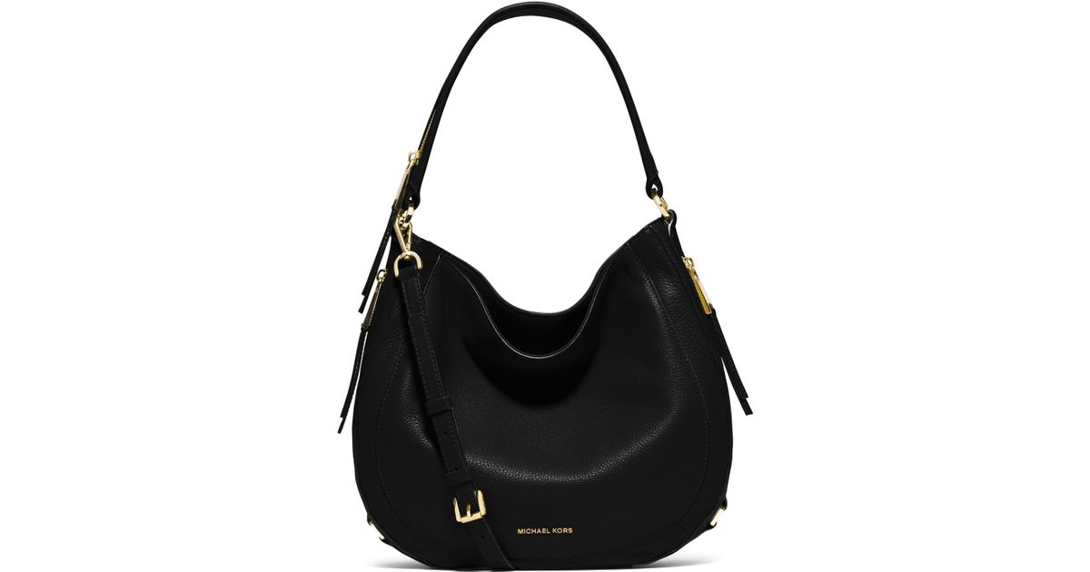 Michael michael kors Julia Medium Leather Hobo Bag in Black | Lyst