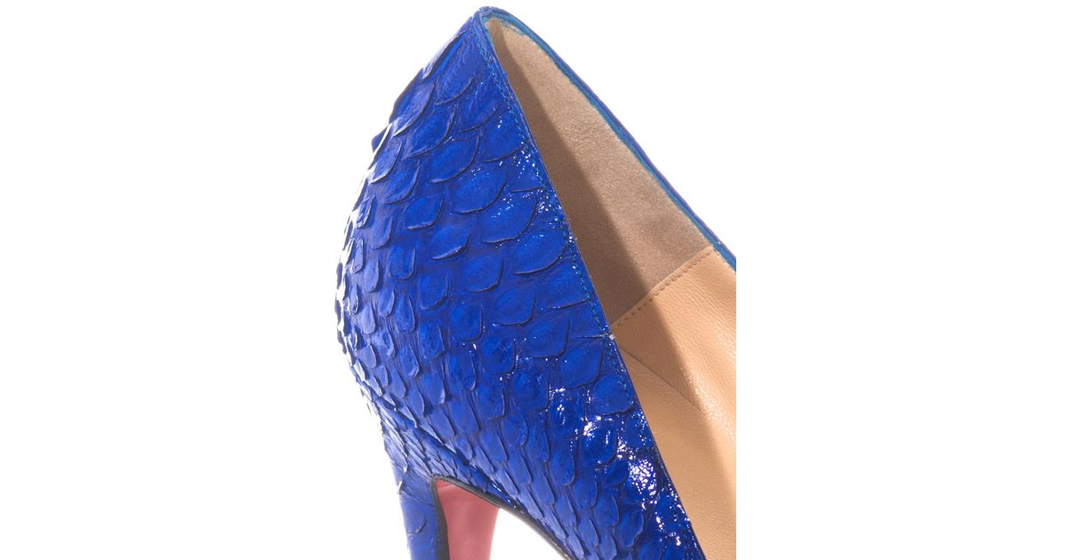 641ec5046f25 Lyst - Christian Louboutin Pigalle 100mm Python Pumps in Blue