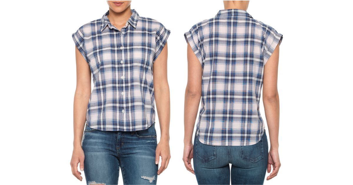 Joe 39 S Jeans Short Sleeve Shirt In Blue Pink Blue Plaid