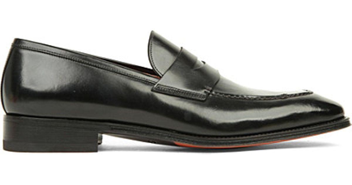 Penny loafers black Santoni dDC3n2