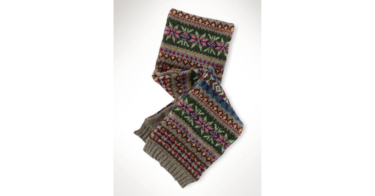 Lyst - Ralph lauren Cotton-Wool Fair Isle Scarf in Brown