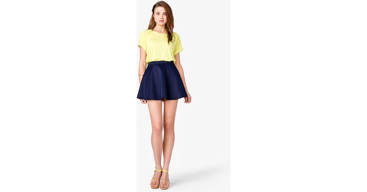 2594f7c65b Forever 21 Scuba Knit Skater Skirt in Blue - Lyst