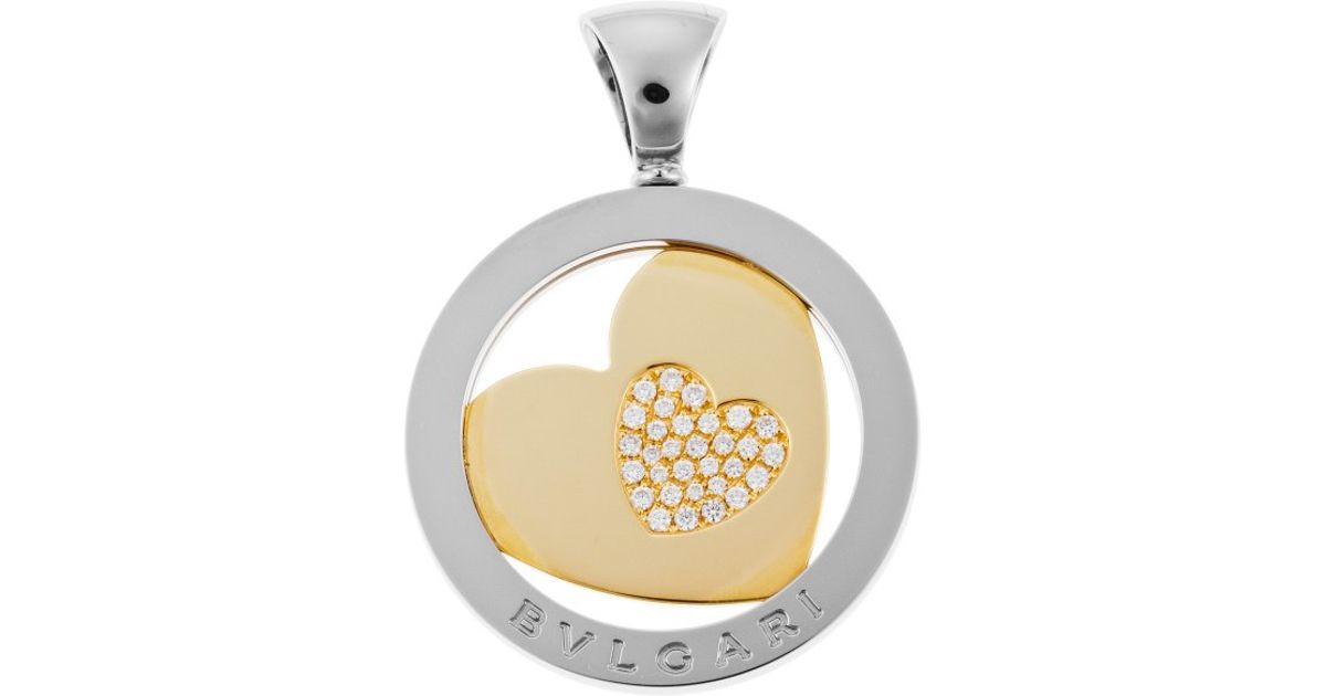 Lyst bvlgari womens tondo diamond heart stainless steel and 18k lyst bvlgari womens tondo diamond heart stainless steel and 18k gold pendant in metallic mozeypictures Image collections