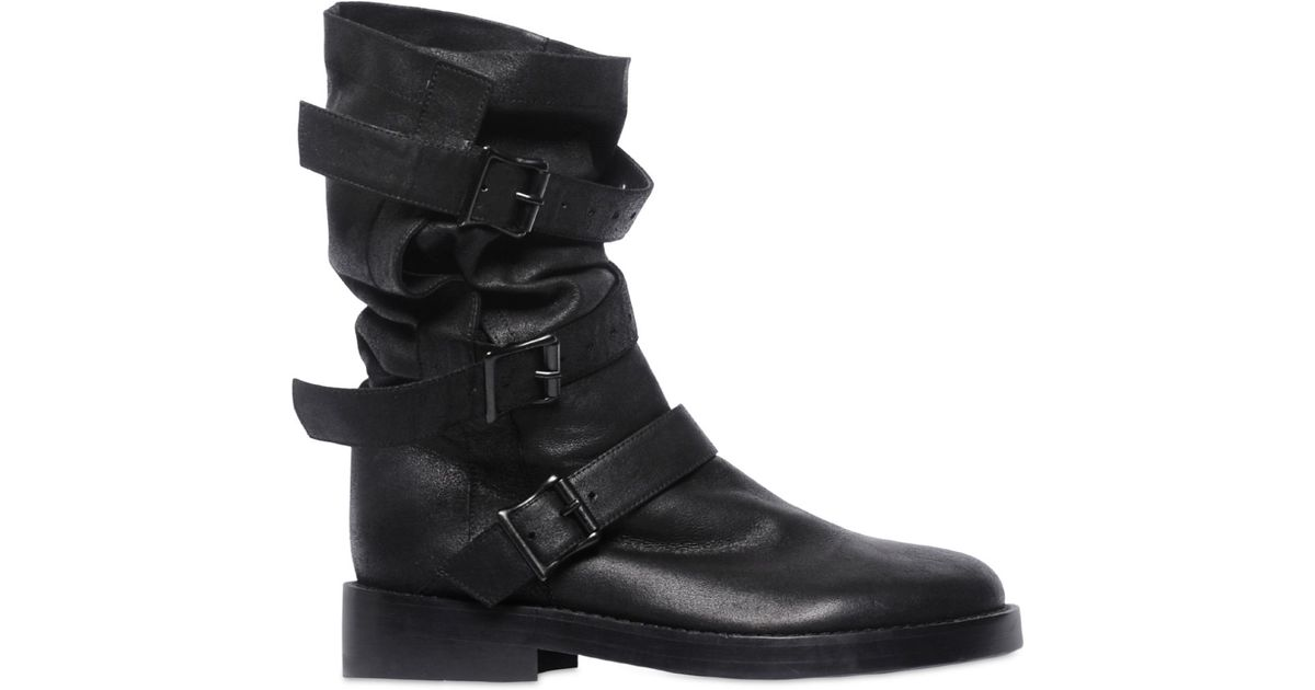 ANN DEMEULEMEESTER 20MM WRAP AROUND LACES LEATHER BOOTS ZMXHS