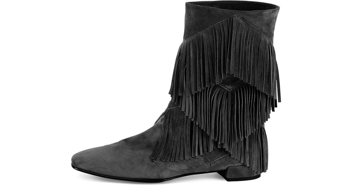 51e8d1355b94 Lyst - Roger Vivier Prismick Suede Fringe Mid-calf Boot in Black
