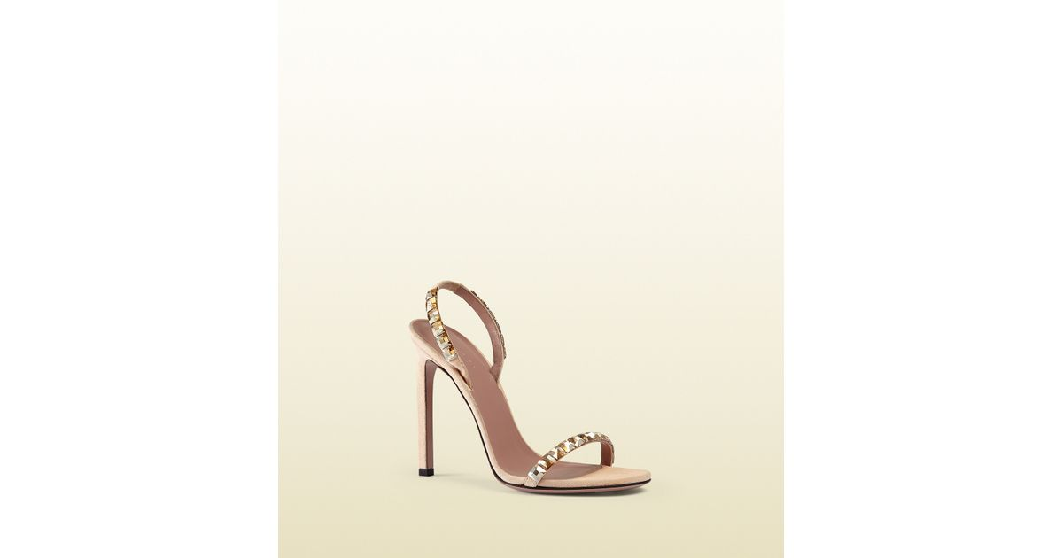 dc1b6103113 Lyst - Gucci Mallory Crystal Embellished Suede Sandals in Metallic