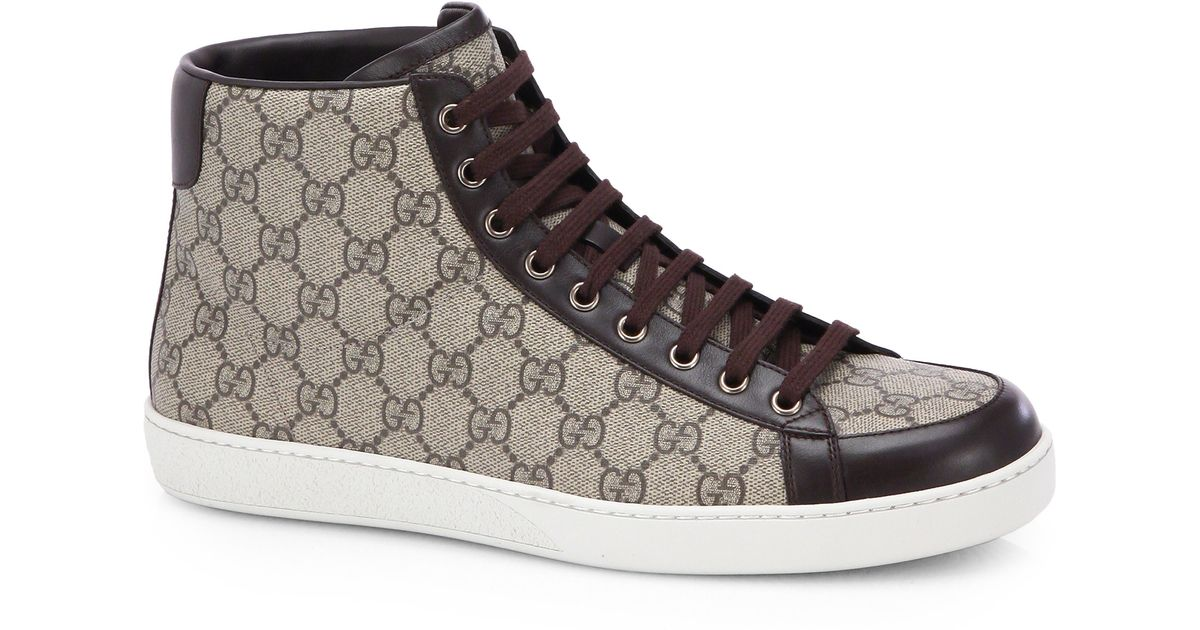 444a09edf9bb9 Lyst - Gucci Gg Supreme Canvas High-top Sneakers in Natural for Men