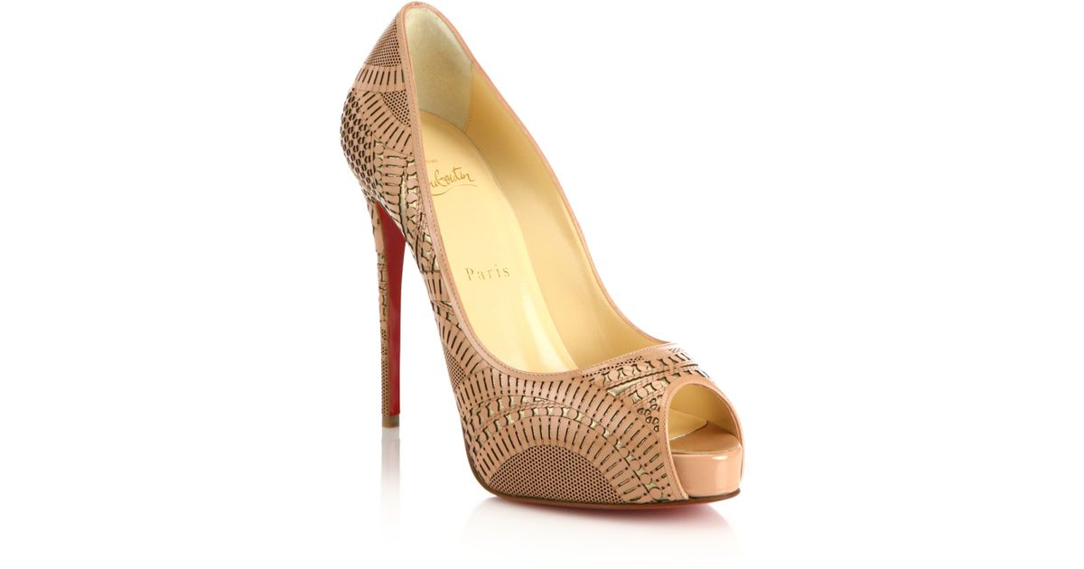 replica christian louboutin mens shoes - Christian louboutin Suellena Laser-Cut Leather Pumps in Beige ...