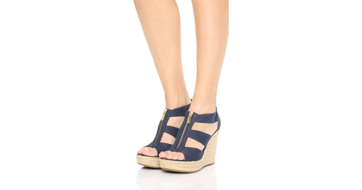 15944d8dffc5 MICHAEL Michael Kors Damita Wedge Sandals in Blue - Lyst