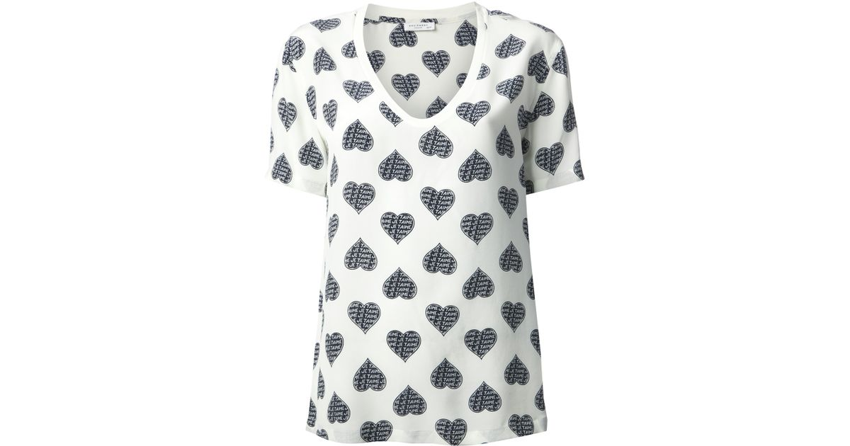 67672a4951a540 Equipment Je Taime Heart Print Blouse in White - Lyst