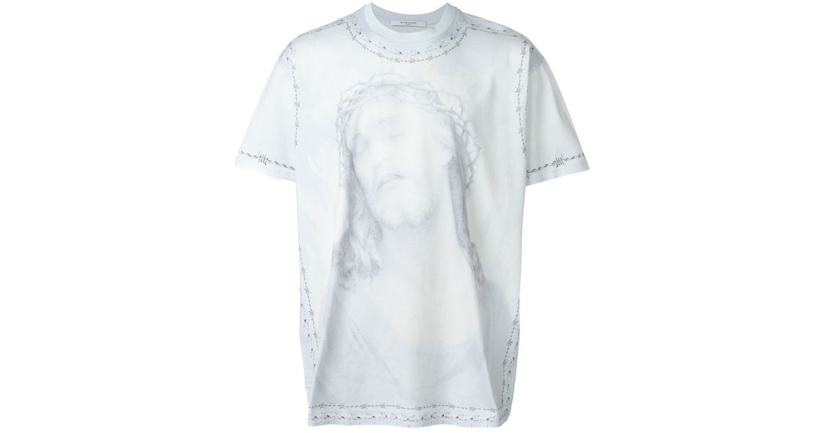givenchy christ print t shirt in blue for men lyst. Black Bedroom Furniture Sets. Home Design Ideas