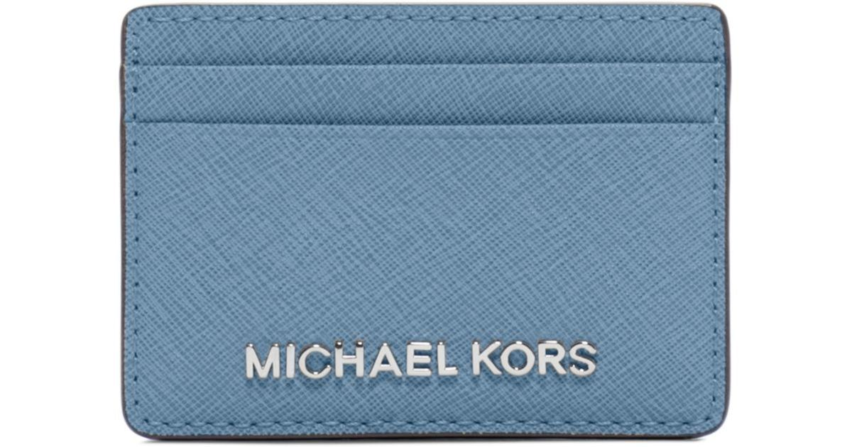 c969a0d30240 Michael Kors Travel Saffiano Leather Card Case in Blue - Lyst