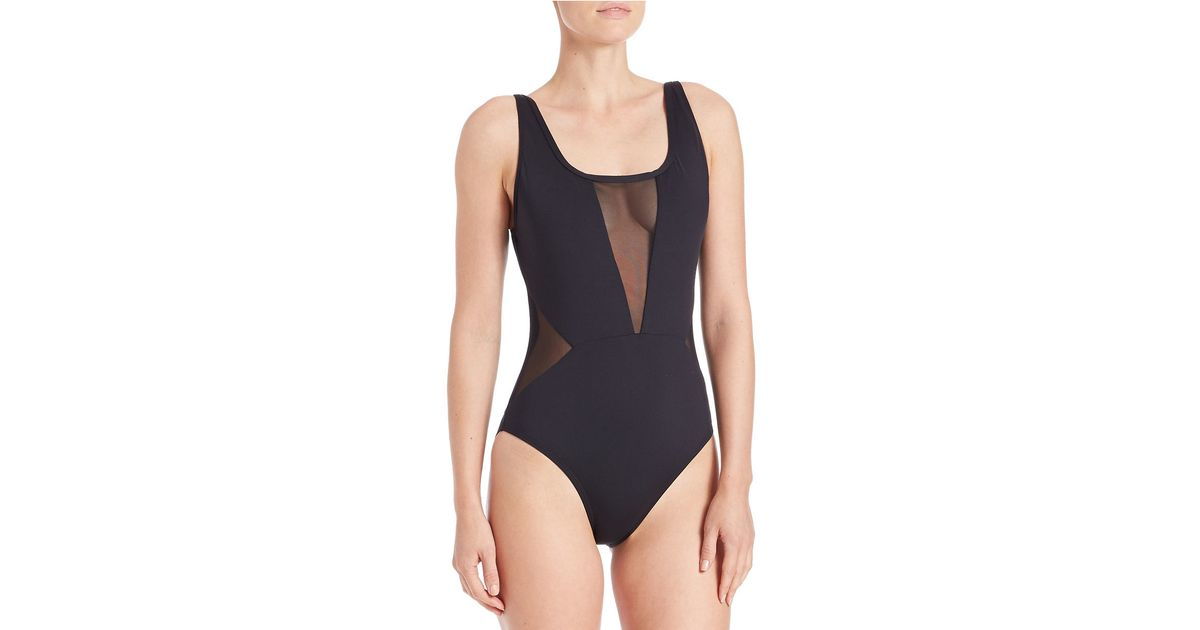 6ea35bf9cc La Blanca Mesh Insert One-piece Swimsuit in Black - Lyst