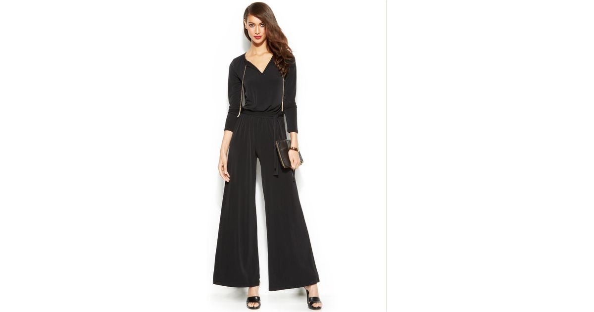 Lyst - Michael Kors Michael Petite Long-Sleeve Wide-Leg Jumpsuit in ...