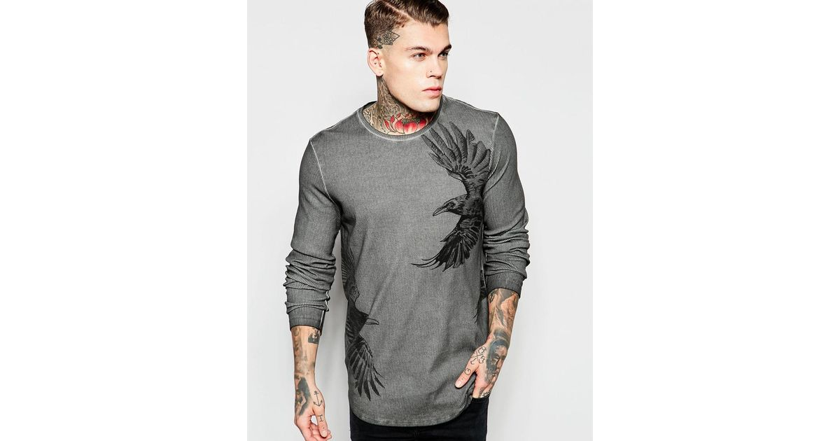 Lyst - Asos Rib Jersey Longline Long Sleeve T-shirt With Bird Print And Pigment  Wash in Gray for Men