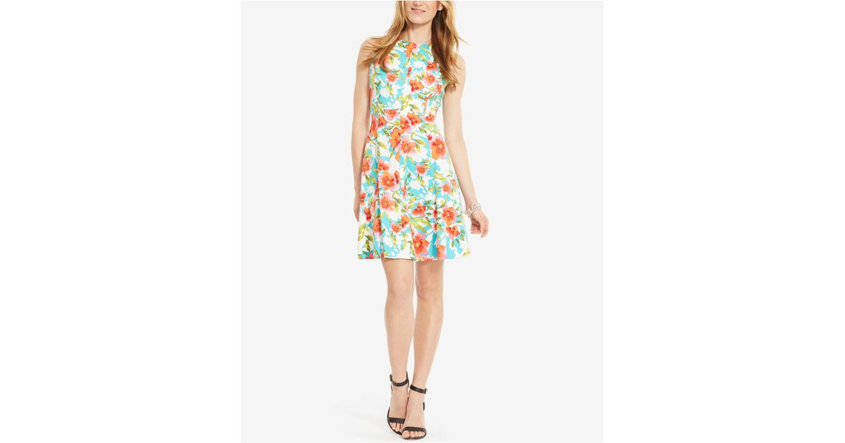 American Living Floral Print Sateen Dress In Floral Blue