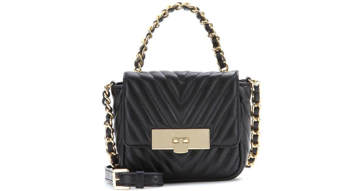 dafdefdf3852 Lyst - MICHAEL Michael Kors Susannah Lock Quilted Leather Shoulder Bag in  Black
