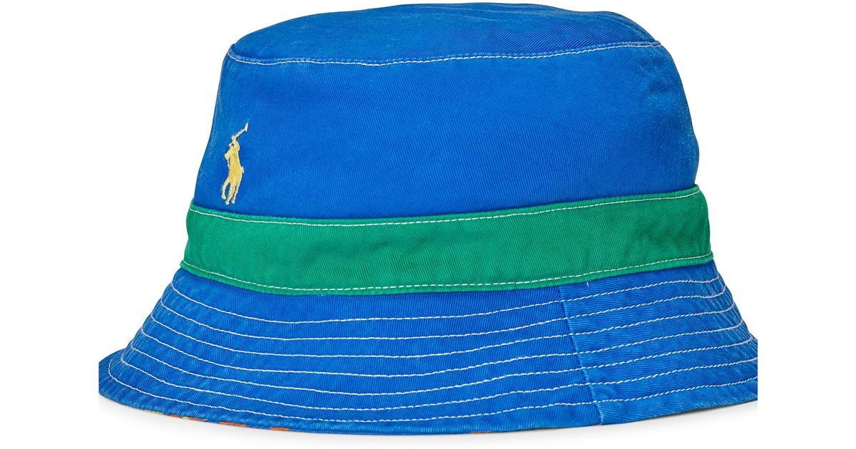fb28ef3bb22 Snap Polo ralph lauren Reversible Twill Bucket Hat in Blue for Men ...
