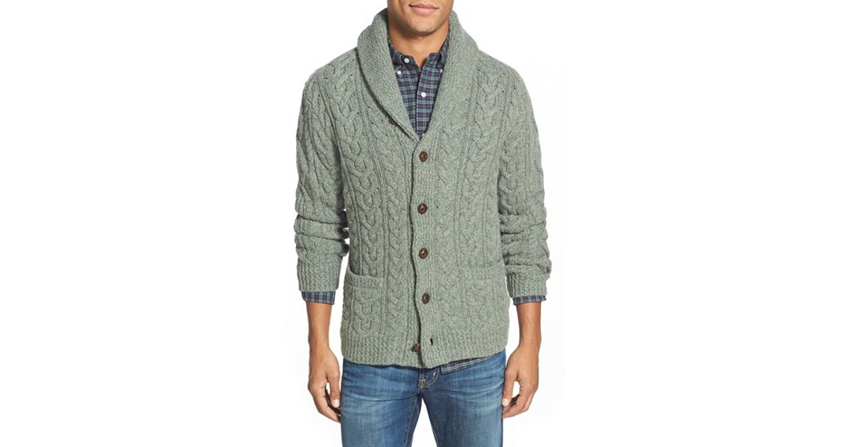 5020eb0de375a4 Lyst - Polo Ralph Lauren Wool   Cashmere Cable Knit Shawl Collar Cardigan  in Green for Men
