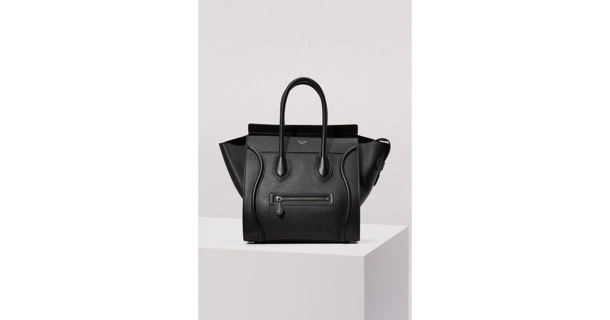 ed0d5bc00d36e Lyst - Céline Mini Luggage Handbag In Drummed Calfskin in Black