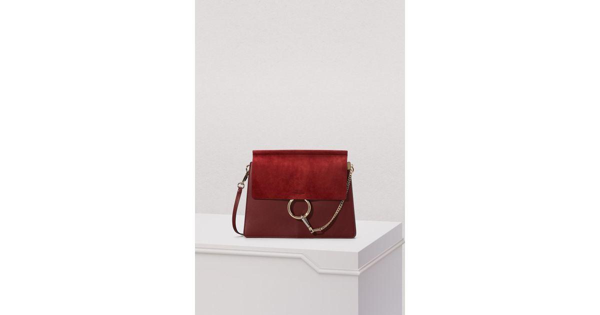 Lyst - Sac porté épaule en daim et cuir lisse Faye Chloé 9004d0d8996