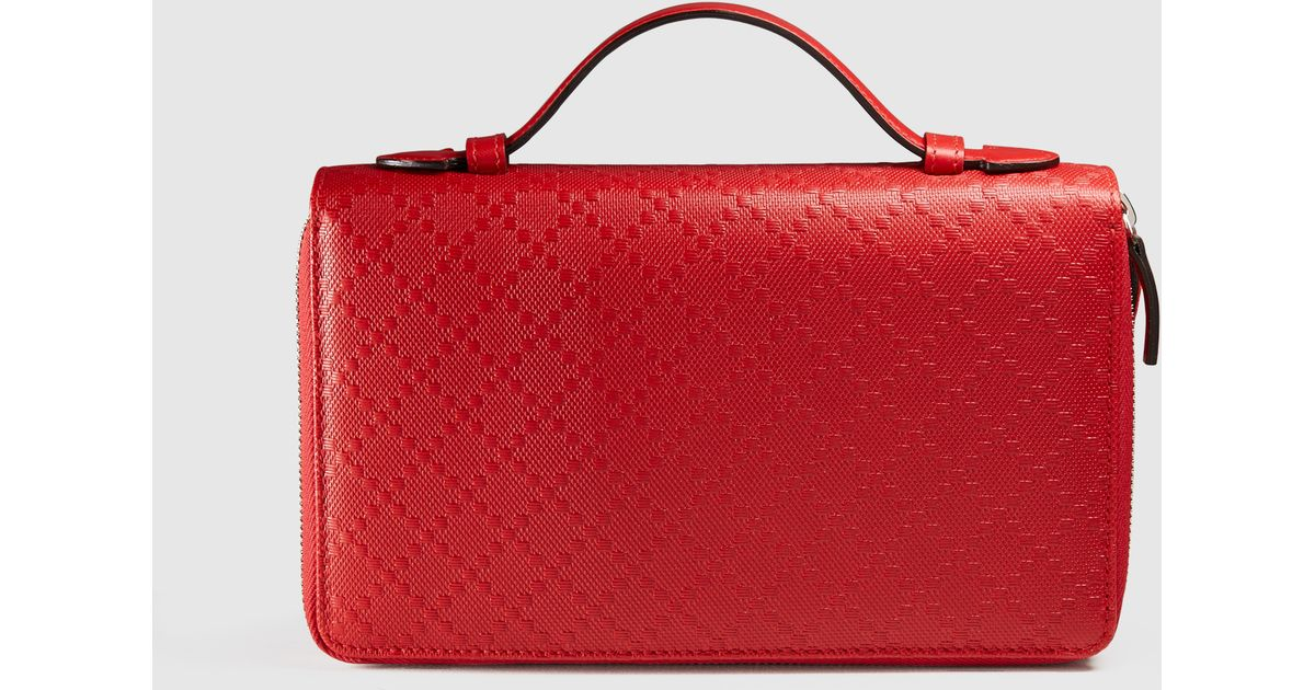 7ea16b41a30f Gucci Diamante Leather Travel Document Case in Red for Men - Lyst