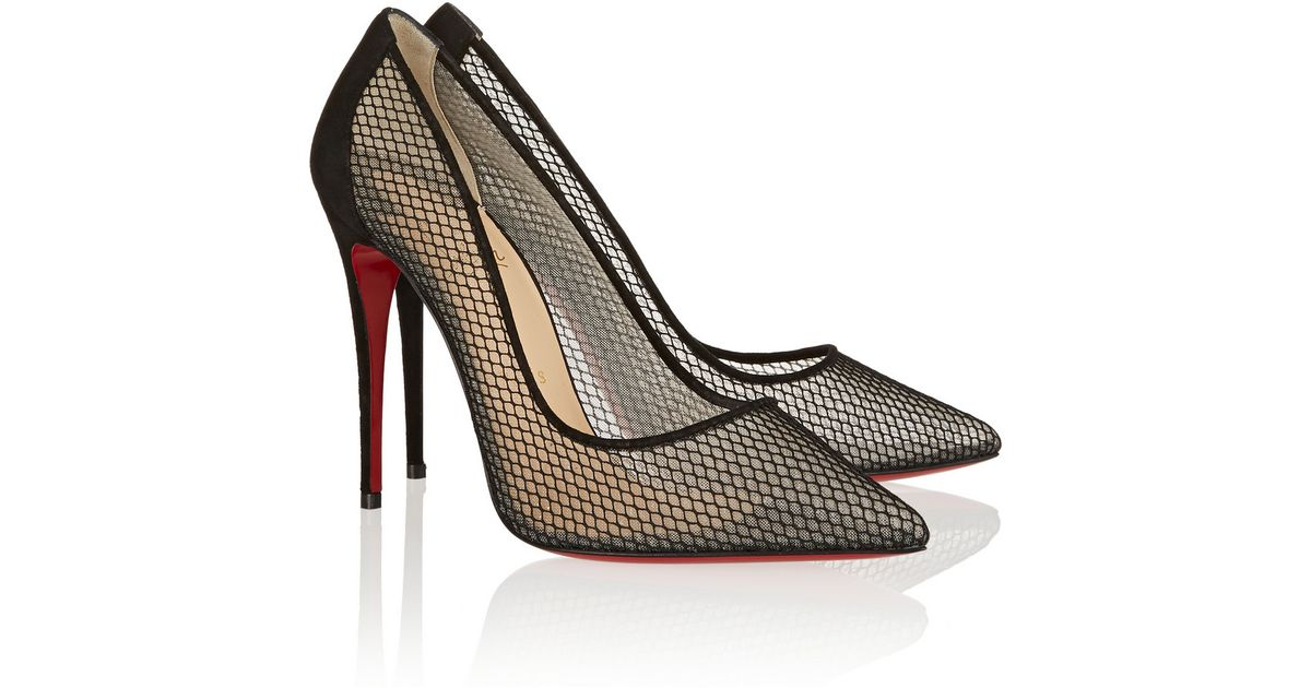 abbb9e5c958 Lyst - Christian Louboutin Follies Resille 100 Suede-trimmed Mesh Pumps in  Black