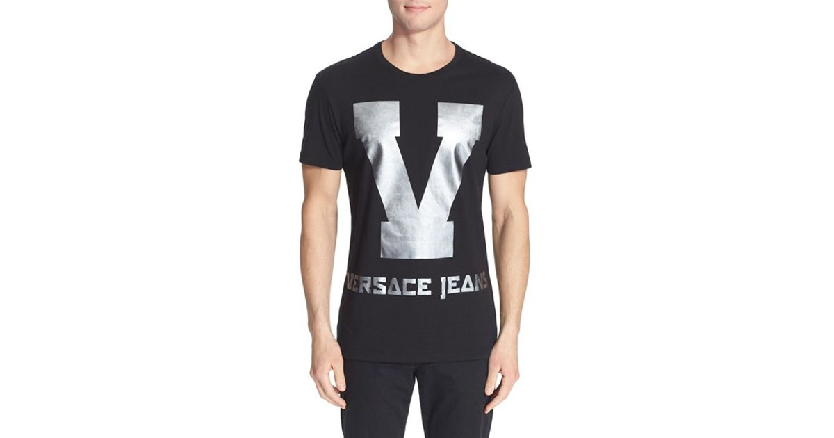 9ed65d6e2 Versace Jeans Foil Print Graphic T-shirt in Black for Men - Lyst