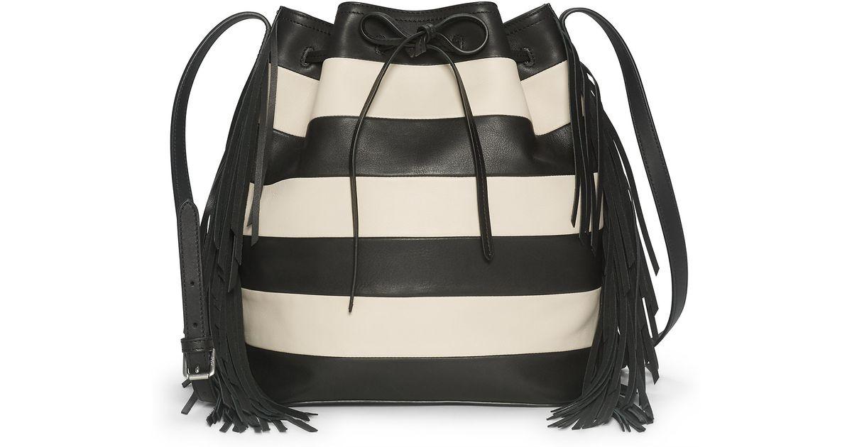 c9ae355fda ... discount lyst polo ralph lauren striped leather bucket bag in black  696f8 c0c79