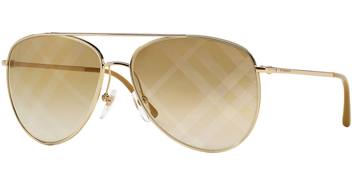 ff94f46ee9f Lyst - Burberry Goldtone Check Aviator Sunglasses in Metallic for Men