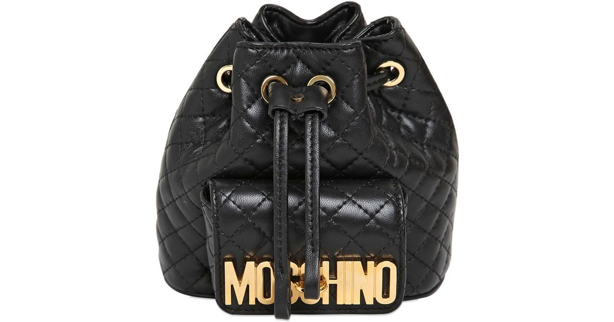 3b8899daf9 Moschino Mini Quilted Backpack in Black - Lyst