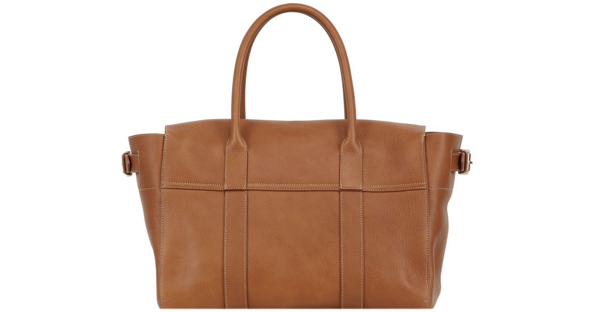 238b2941fb ... low price lyst mulberry bayswater buckle natural leather bag in gray  876e1 c9d4c