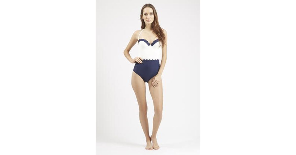 7f941a12b7c TOPSHOP Double Scallop Trim Swimsuit in White - Lyst