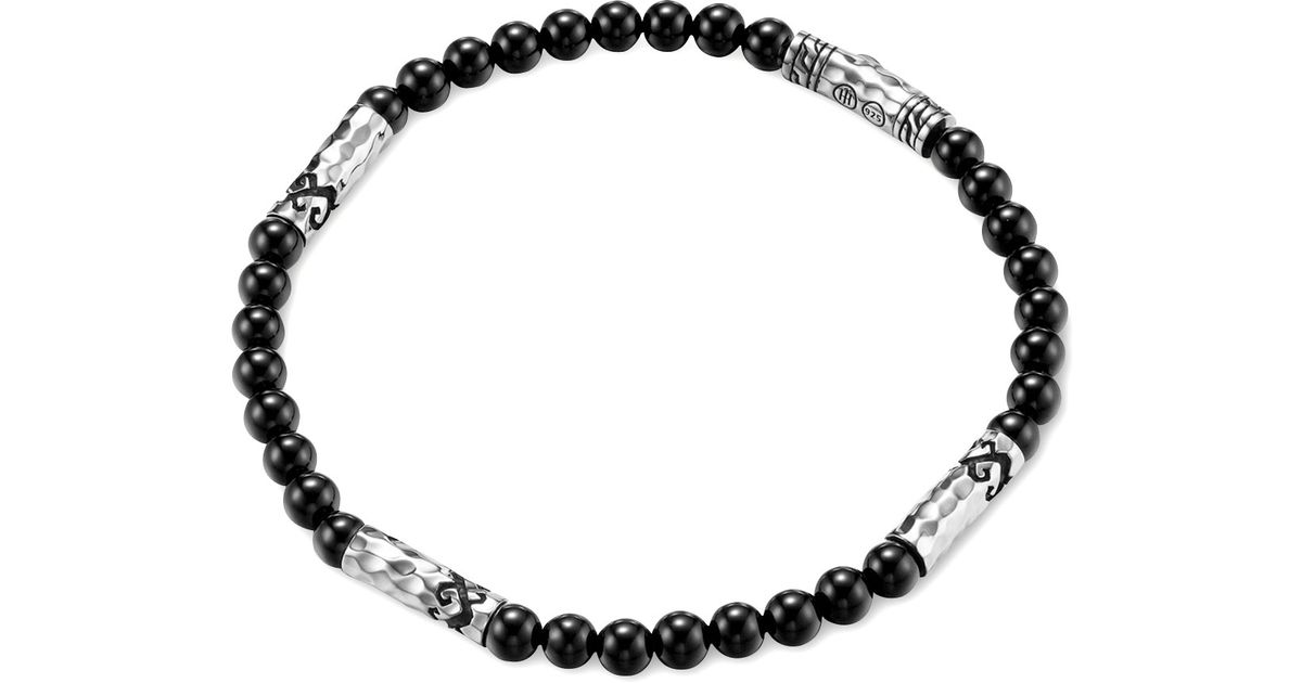 John hardy men 39 s batu dayak silver bead bracelet in onyx for Same day jewelry repair