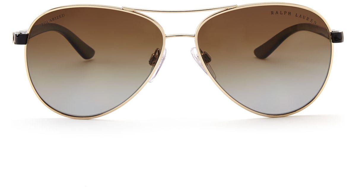 Ralph Lauren Polarized Aviator  ralph lauren rl7046 gold tone aviator polarized sunglasses in