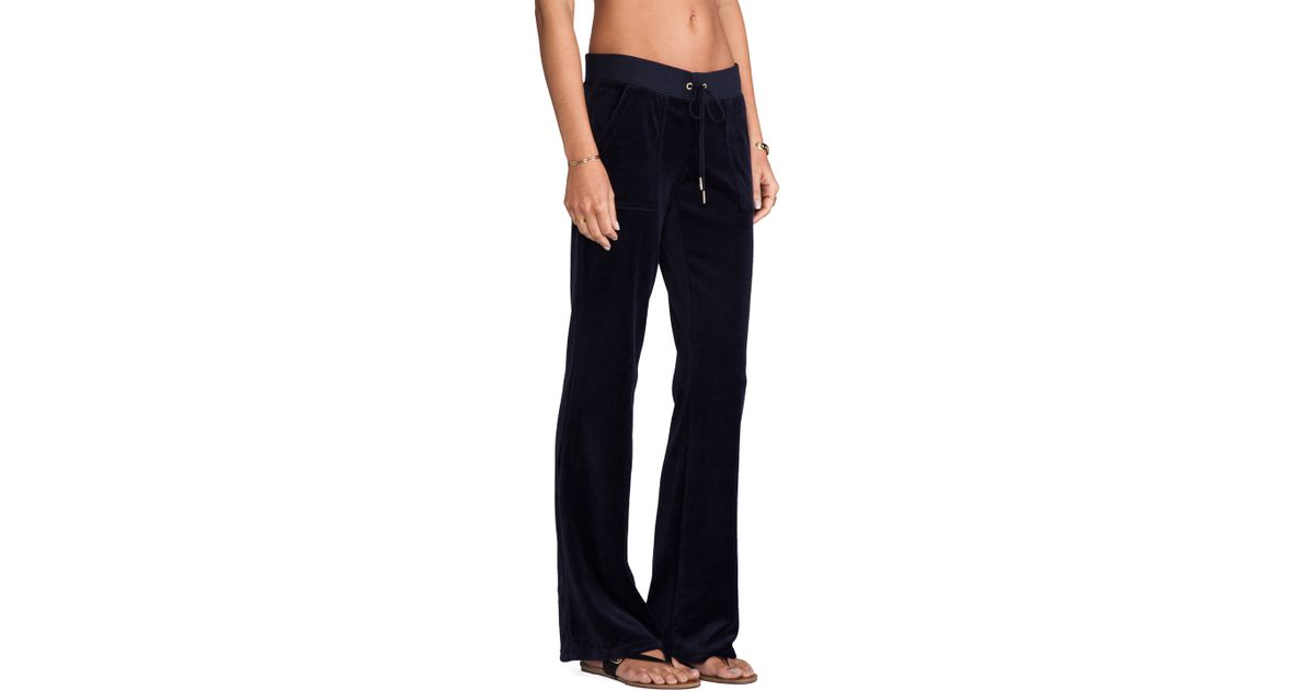 Lyst - Juicy Couture J Bling Velour Bootcut Pant in Navy in Blue c7a8fb292