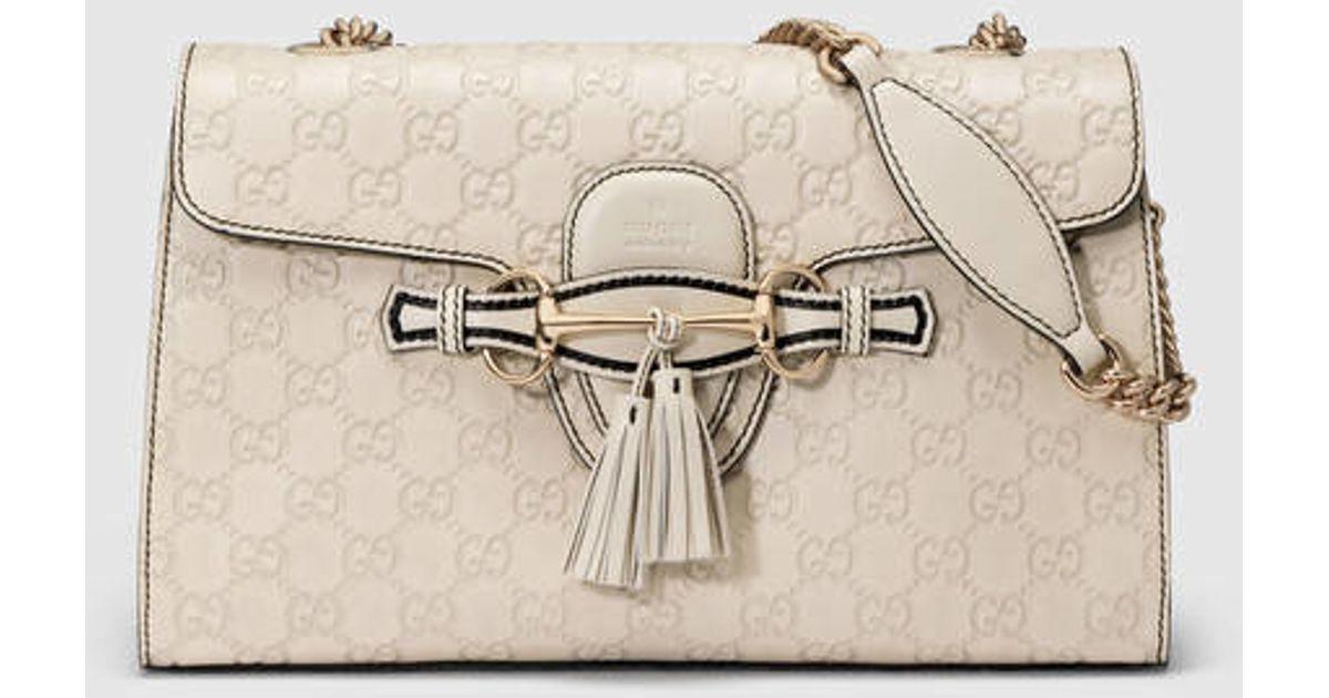 d322d3e14c6 Lyst - Gucci Emily Guccissima Chain Shoulder Bag in White