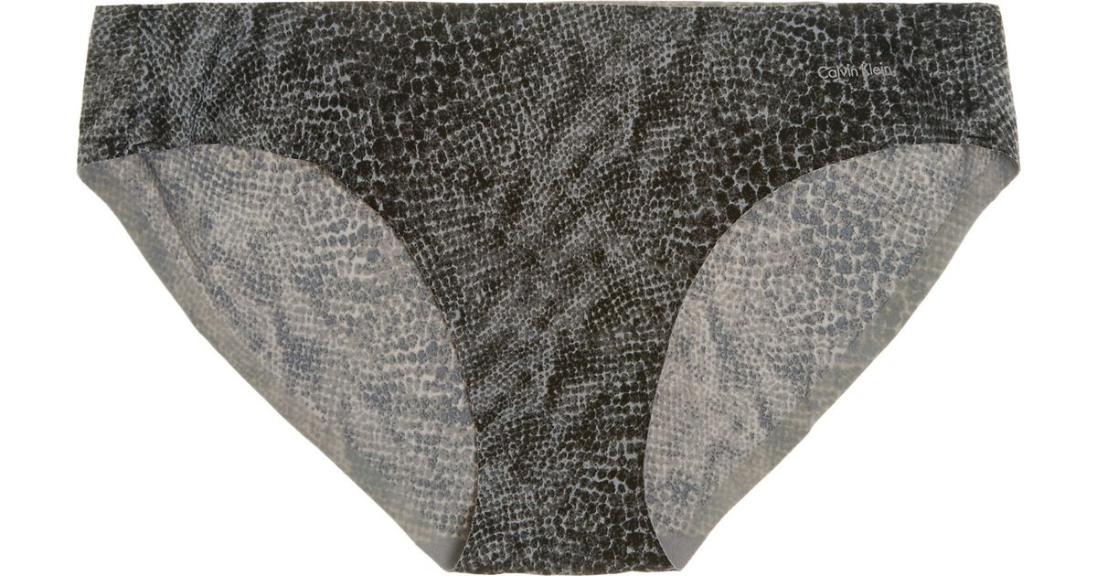 29003a9fa6b9 Calvin Klein Perfectly Fit Snake-print Stretch-satin Briefs in Gray - Lyst