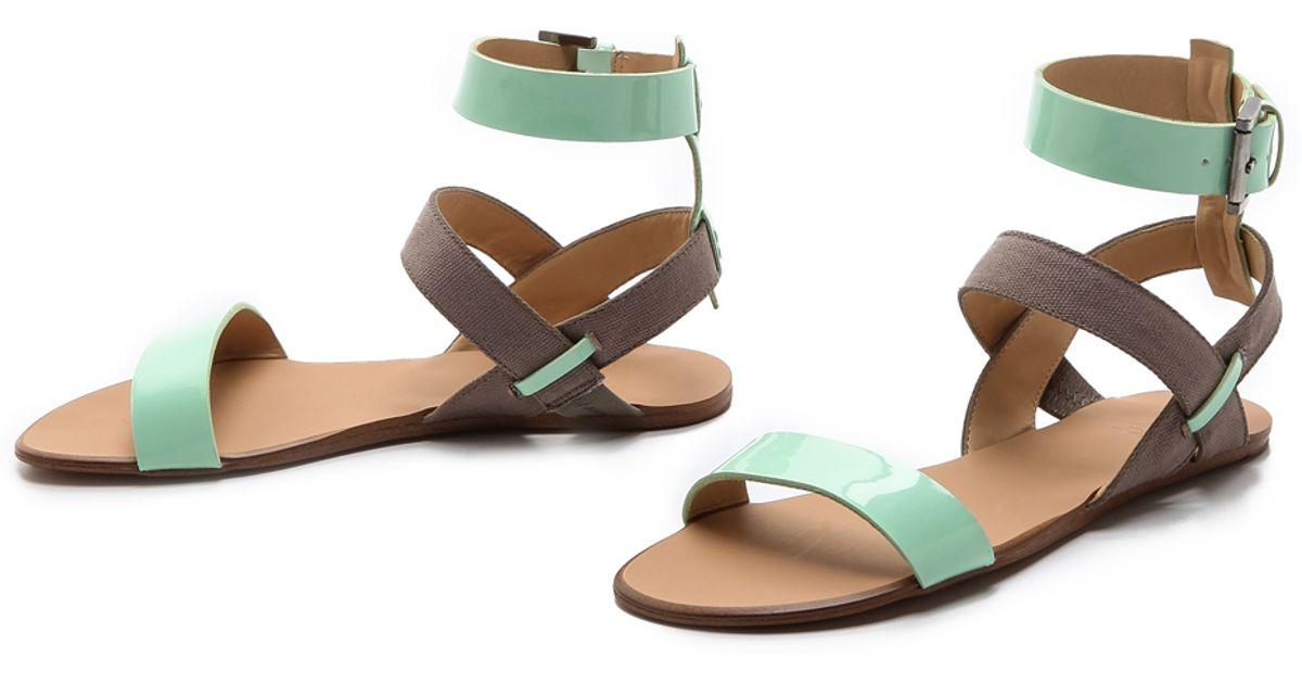 cf84b244d48c Lyst - Joe s Jeans Eryn Flat Sandals in Green