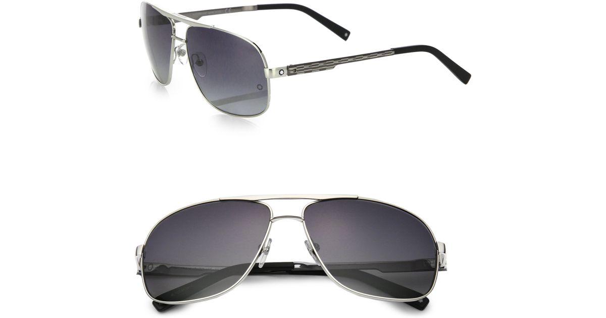 a13aebc492982 Montblanc 63mm Aviator Sunglasses in Metallic for Men - Lyst