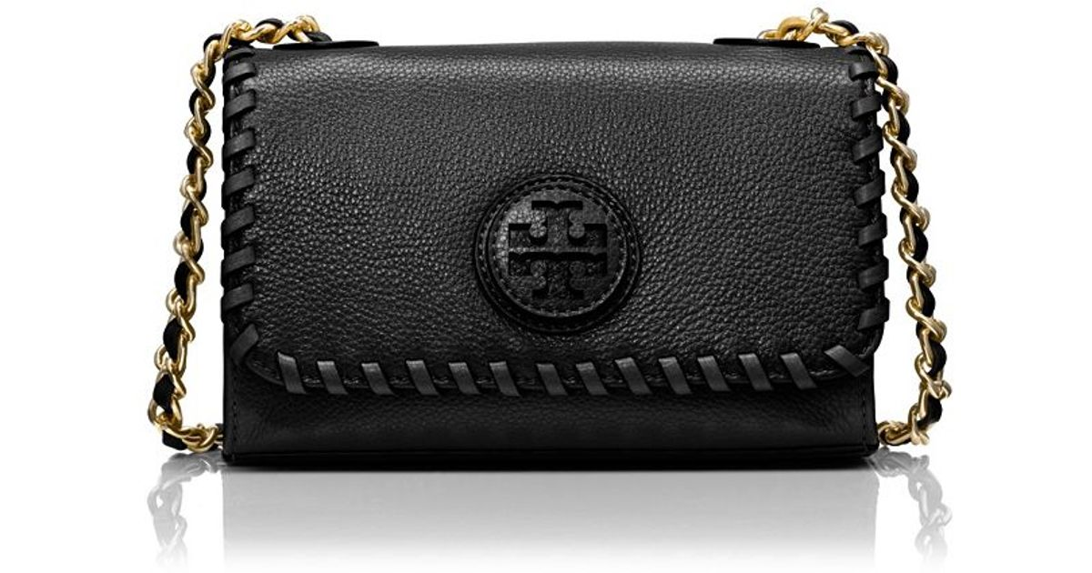 1b18a02871d Lyst - Tory Burch Marion Shrunken Shoulder Bag in Black