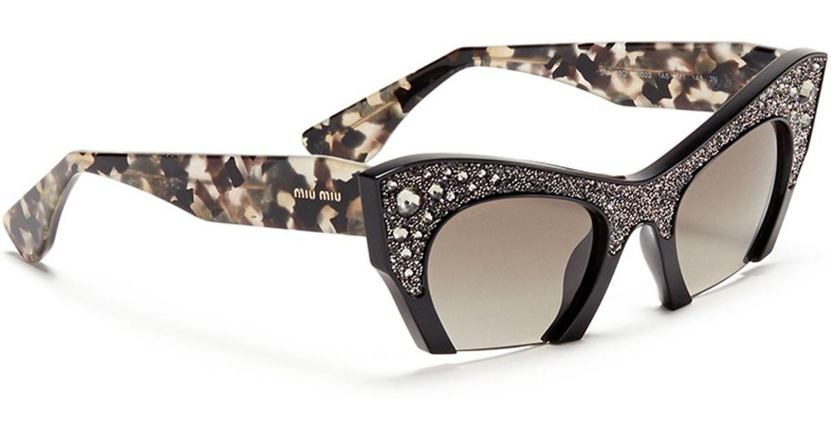 50f877fd4f9 Lyst - Miu Miu  Rasoir  Crystal Rhinestone Half Rim Acetate Sunglasses in  Black
