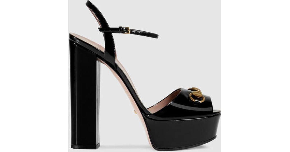 f0cb053cedbf Lyst - Gucci Patent Leather Platform Sandal in Black