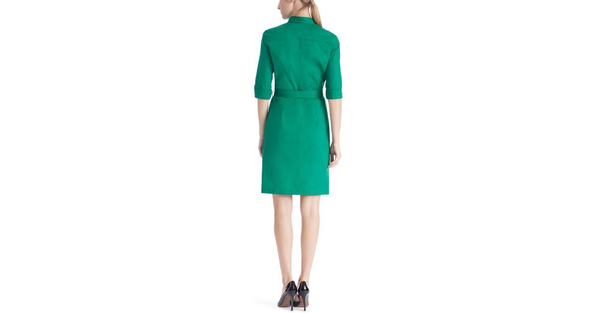 b0fe896f2 BOSS 'dashiri' | Stretch Cotton Belted Shirt Dress in Green - Lyst