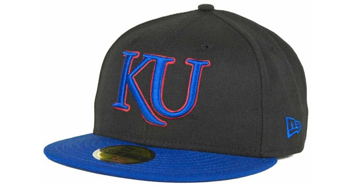 new product dfad1 1bf6f ... shop ktz kansas jayhawks ncaa 2 tone 59fifty cap in black for men lyst  a2335 cd522