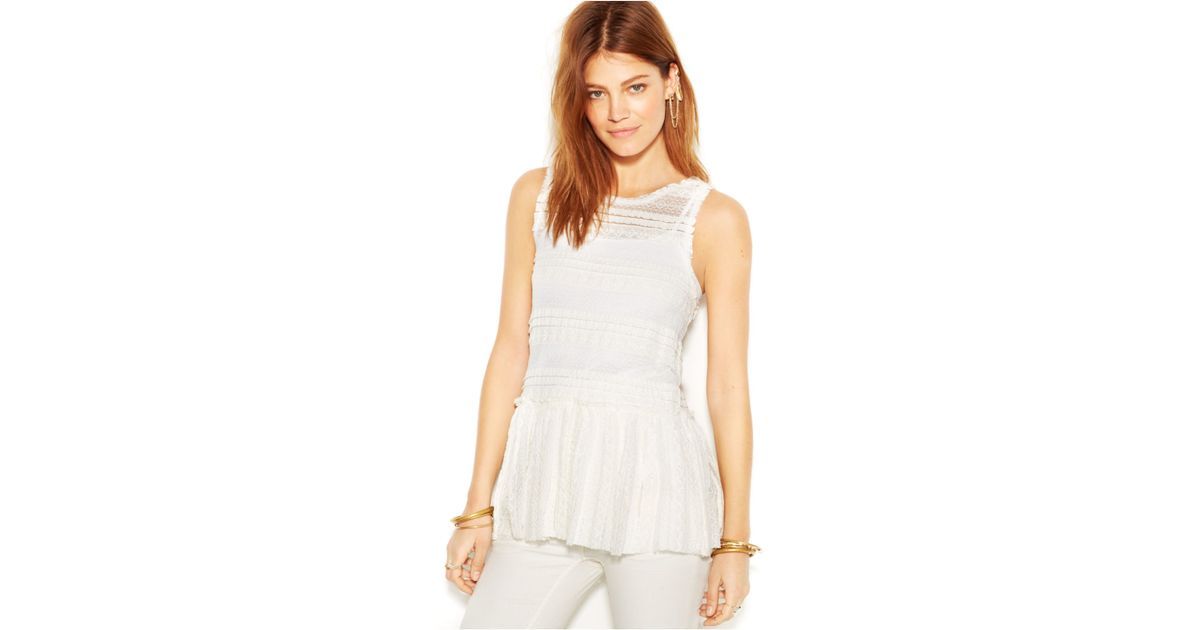 53944be502737d Free People Sleeveless Pucker-Lace Textured Peplum Top in White - Lyst