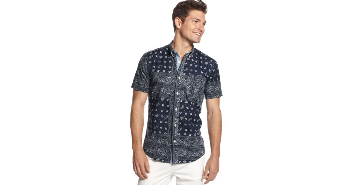3024d43a Tommy Hilfiger Dean Pieced Bandana Customfit Shirt in Blue for Men - Lyst