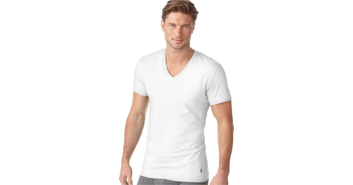 fac35de9 Polo Ralph Lauren Ralph Lauren Men'S Underwear, Classic Cotton V Neck T  Shirt 3 Pack in White for Men - Lyst