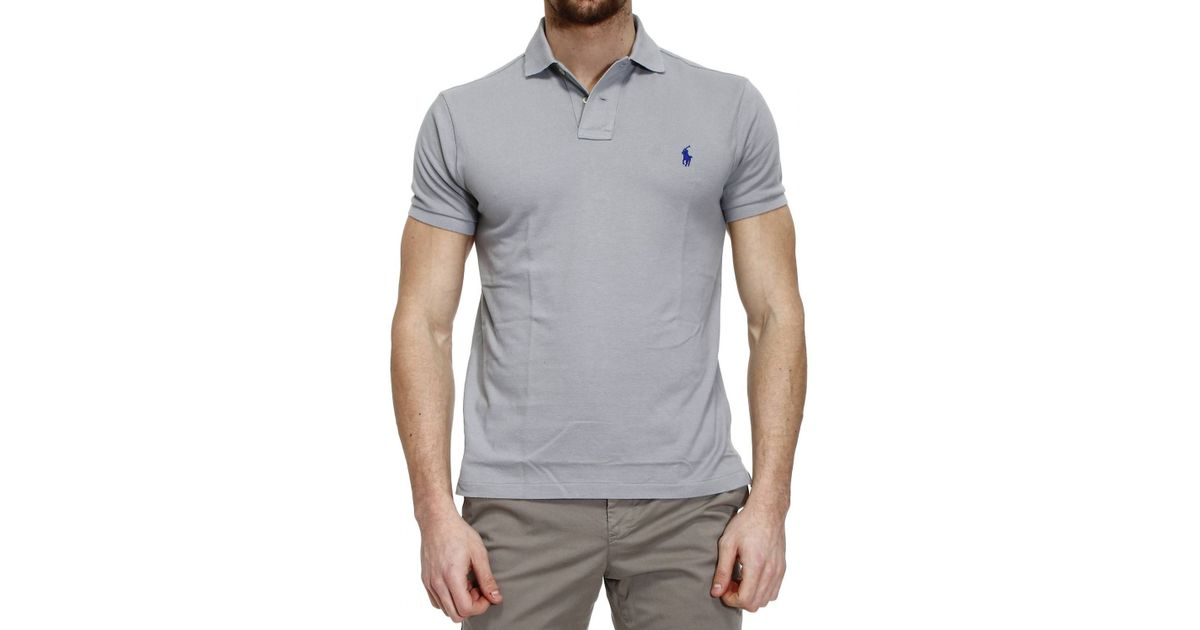 b761b3e27 Polo ralph lauren T-Shirt Polo Half Sleeve Smash Custom Fit in Gray for Men