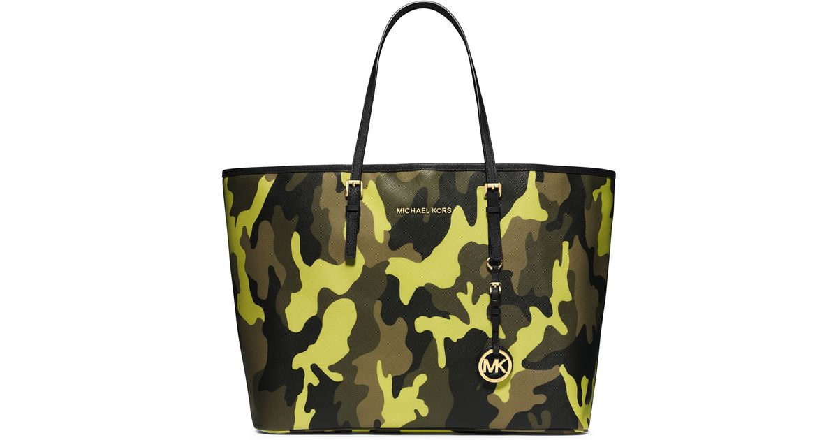 4c2810f70ba9 ... official lyst michael michael kors medium jet set camo travel tote in  yellow b6113 4a7f0